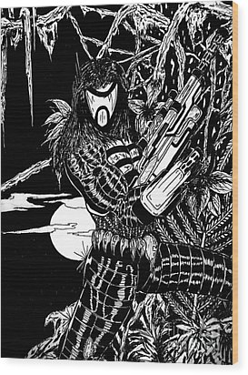 Wood Print featuring the drawing The Assassin by Justin Moore