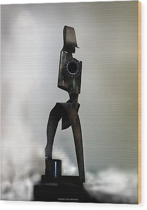Wood Print featuring the sculpture The Athenian by Kim Gauge
