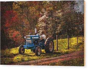 The Autumn Blues Wood Print by Debra and Dave Vanderlaan