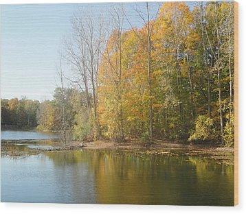 The Autumn Lake Wood Print by Guy Ricketts