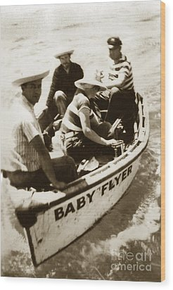 The Baby Flyer With Ed Ricketts And John Steinbeck  In Sea Of Cortez  1940 Wood Print