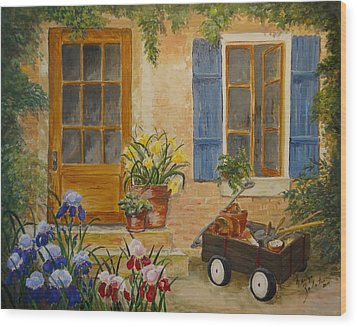 Wood Print featuring the painting The Back Door by Marilyn Zalatan