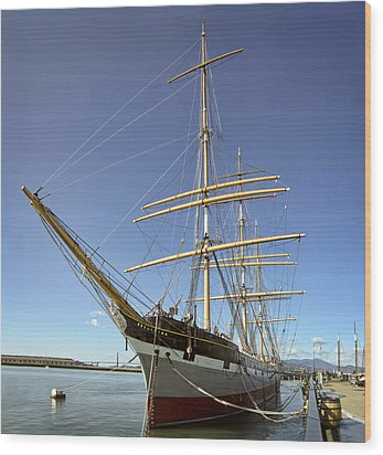 The Balclutha Historic 3 Masted Schooner - San Francisco Wood Print by Daniel Hagerman