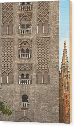 The Balconies Of Seville Cathedral Belfry Wood Print by Viacheslav Savitskiy