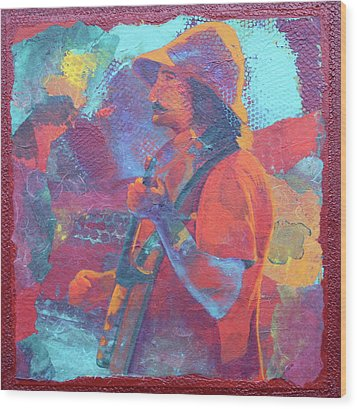 Wood Print featuring the painting The Banjo Player by Nancy Jolley