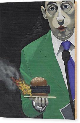 The Banlieu Burger Wood Print by Marcella Lassen