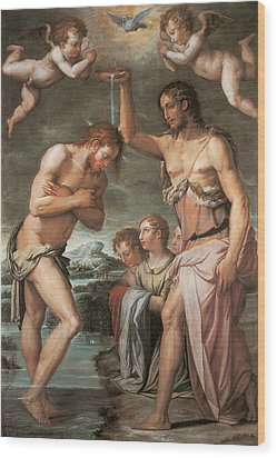 The Baptism Of Christ Wood Print by Giorgio vasari
