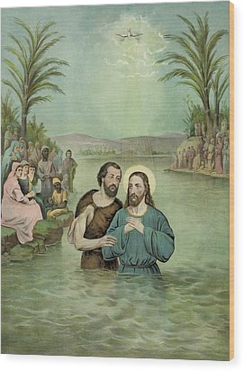 The Baptism Of Jesus Christ Circa 1893 Wood Print by Aged Pixel