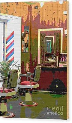 The Barber Shop Wood Print by Sophie Vigneault
