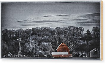 The Barn And The Windmill Wood Print