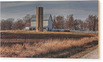 The Barn On The Hill Wood Print by Karen McKenzie McAdoo