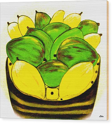 Wood Print featuring the painting The Basket by Lorna Maza