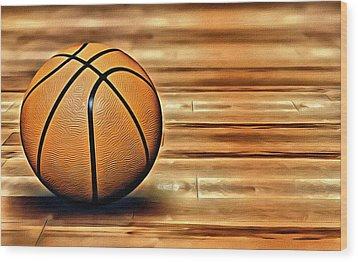 The Basketball Wood Print by Florian Rodarte