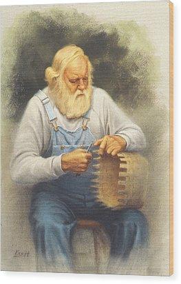 The Basketmaker In Pastel Wood Print by Paul Krapf
