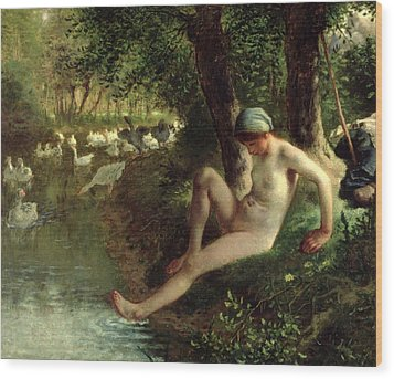 The Bather Wood Print by Jean Francois Millet