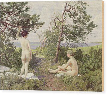 The Bathers Wood Print by Paul Fischer