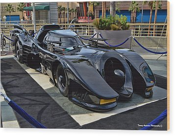 The Batmobile Wood Print by Tommy Anderson