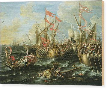 The Battle Of Actium 2 September 31 Bc Wood Print by Lorenzo Castro