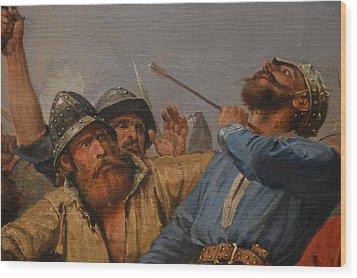 The Battle Of Stamford Bridge Wood Print by Peter Nicolai Arbo
