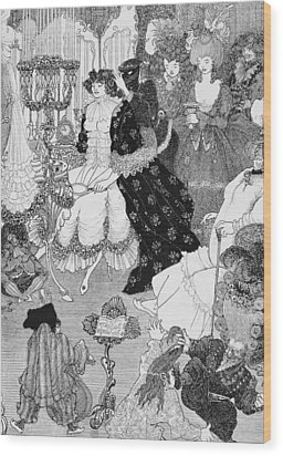 The Battle Of The Beaux And The Belles Wood Print by Aubrey Beardsley