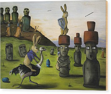 The Battle Over Easter Island Wood Print by Leah Saulnier The Painting Maniac