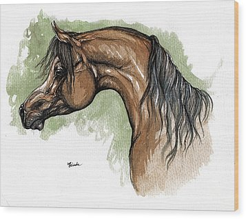 The Bay Arabian Horse 12 Wood Print by Angel  Tarantella