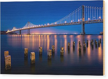 The Bay Lights Wood Print by Alexis Birkill