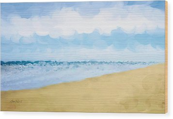 The Beach Abstract Art Wood Print by Ann Powell