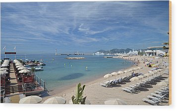 Wood Print featuring the photograph The Beach At Cannes by Allen Sheffield