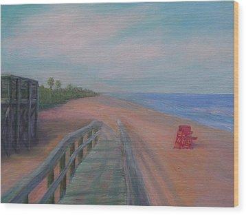 The Beach At Flagler Beach Wood Print