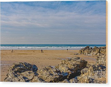 The Beach At Porthtowan Cornwall Wood Print by Brian Roscorla