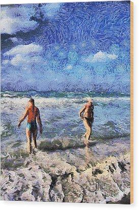 The Beach Wood Print by Odon Czintos