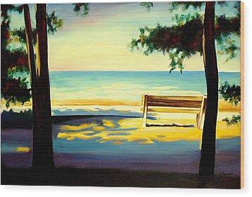 The Beach Wood Print by Sheila Diemert
