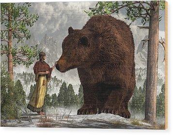 The Bear Woman Wood Print