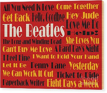 The Beatles 20 Classic Rock Songs 2 Wood Print by Andee Design