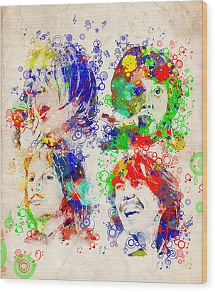 The Beatles 5 Wood Print by Bekim Art