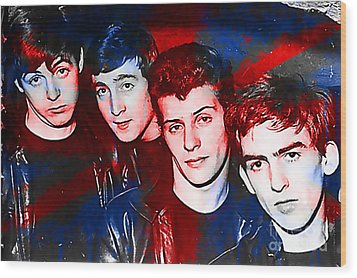 The Beatles Before Ringo Pete Best Painting Wood Print by Marvin Blaine