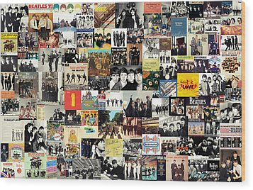 The Beatles Collage Wood Print by Taylan Apukovska