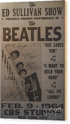The Beatles Ed Sullivan Show Poster Wood Print
