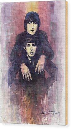 The Beatles John Lennon And Paul Mccartney Wood Print by Yuriy  Shevchuk