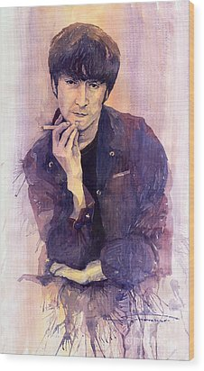 The Beatles John Lennon Wood Print by Yuriy  Shevchuk