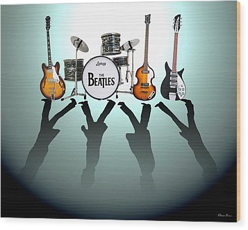 The Beatles Wood Print by Lena Day