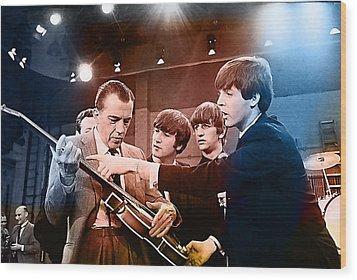 The Beatles On The Ed Sullivan Show Wood Print by Marvin Blaine