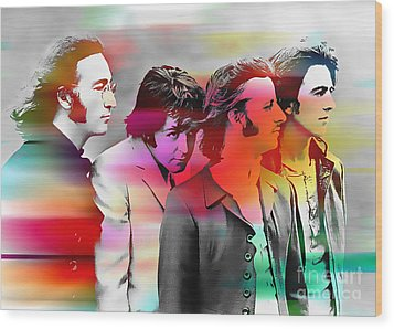 The Beatles Painting Wood Print by Marvin Blaine