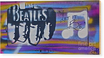 The Beatles Purple Wood Print by Tony B Conscious