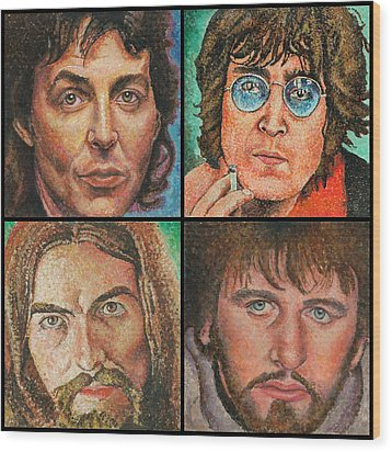 The Beatles Quad Wood Print