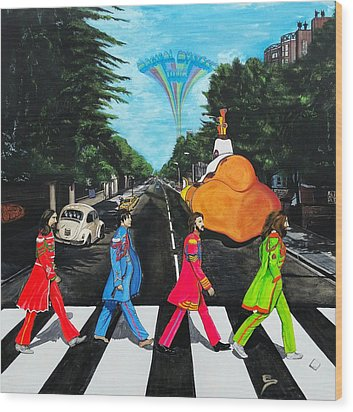The Beatles Sgt Peppers Walk On Abby Road Wood Print by Edward Pebworth