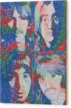 Wood Print featuring the drawing The Beatles Squared by Joshua Morton