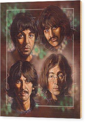 The Beatles Wood Print by Tim  Scoggins