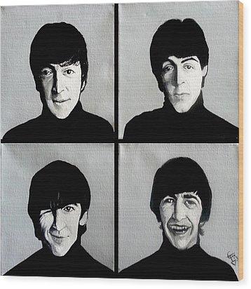 The Beatles Wood Print by Tom Carlton
